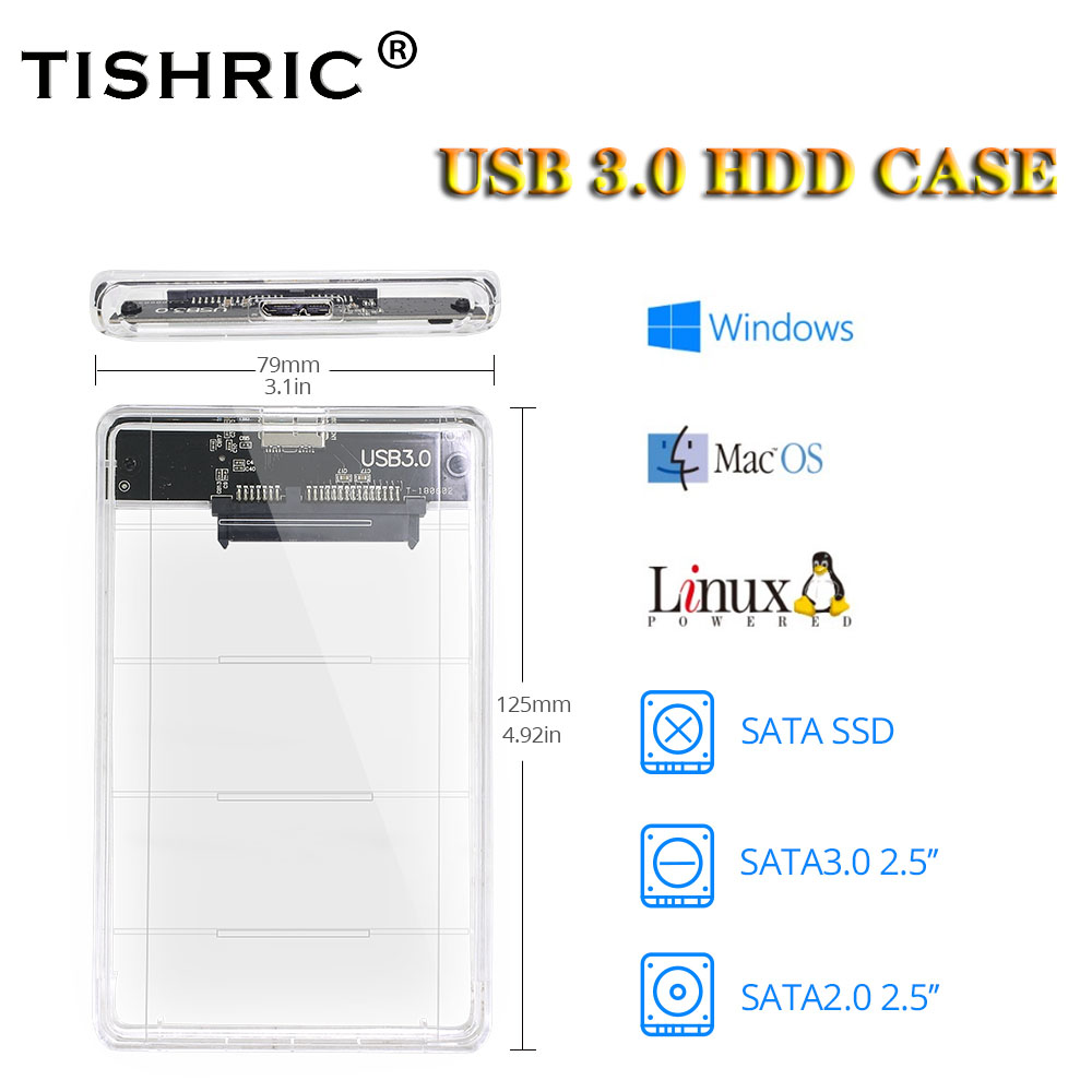TISHRIC HDD Case 2.5 SATA To USB 3.0 Hard Disk Enclosure Case Mobile Box For PC Laptop Optibay External HDD Enclosure With Cable