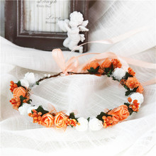 Flower Head With Ribbon Small Wreath Crown Hair Wreaths Headband For Girls Wedding Party Travel Photography