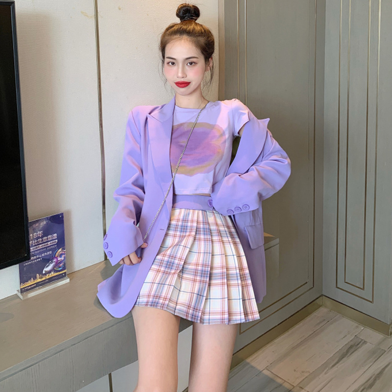 Autumn 2019 New Style Hyuna Purple Three-piece Set Suit Jacket + Shorts T-shirt + Pleated Skirt Online Celebrity WOMEN'S Suit