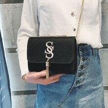 цены Koreanversion of the new fashion stars double S tassel chain small square bag fashion Joker temperament shoulderslung bag purse
