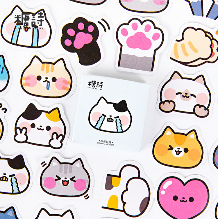45 Pcs/box Cute Meow Battle Journal Decorative Stickers Scrapbooking Stick Label Diary Stationery Album Animal Cat Stickers