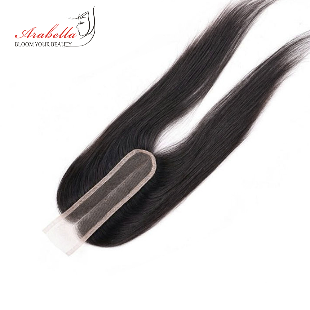 Brazilian Straight Hair 2x6 Lace Closure PrePlucked Bleached Knots Middle Ratio Arabella Middle Part With Baby Hair Remy Closure