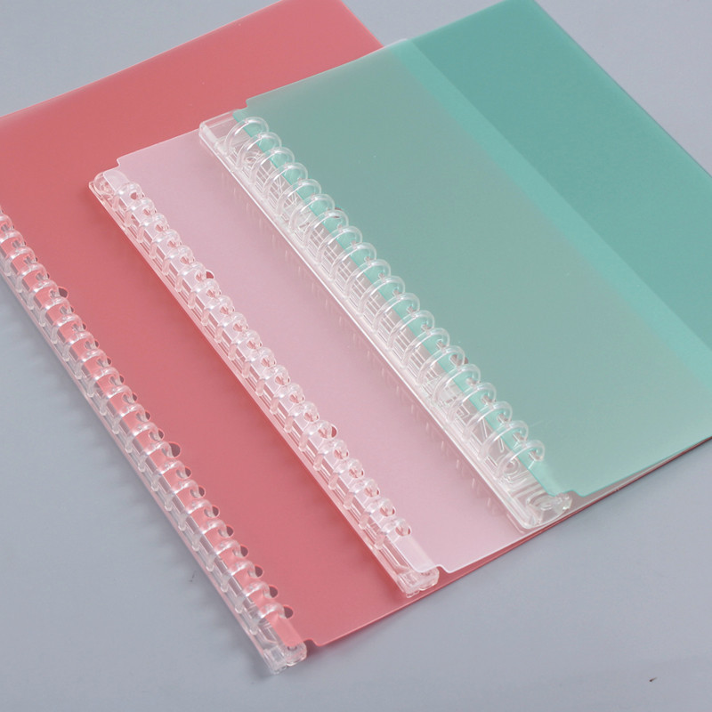 Color Transparent Loose Leaf Binder Cover 20/26 Hole Detachable Loose-leaf Notebook Binding Accessories A5 B5 Office Stationery