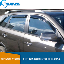цена на Side Window Deflector For KIA SORENTO 2010 2011 2012 2013 2014 Black Window Visor Vent Shade Sun Rain Deflector Guards  SUNZ