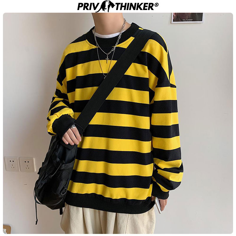 Privathinker Woman Striped Pullovers Autumn O-Neck Sweatshirt 2019 Lady Loose Long Sleeve Hoodies Female 5XL Clothes Colorful