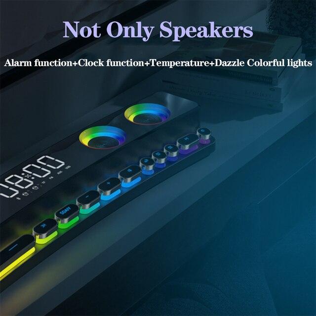 3600mAh Bluetooth Wireless Game Speaker soundbar USB 3D Stereo Subwoofer AUX FM Home Clock Indoor Sound Bar Computer Loudspeaker 5