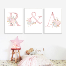 Custom Baby Posters Personalized Girl's Name Poster Nursery Decor Wall Art Prints Pink Flower Canvas Painting Pictures Baby Room