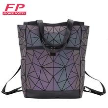 Laptop Backpacks Rucksack Holographic School Women Multi-Function Geometric Female No