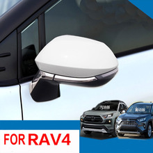 4pcs ABS 크롬 사이드 미러 커버 트림 액세서리 2019 2020 도요타 RAV4 RAV 4 자동차 스타일링