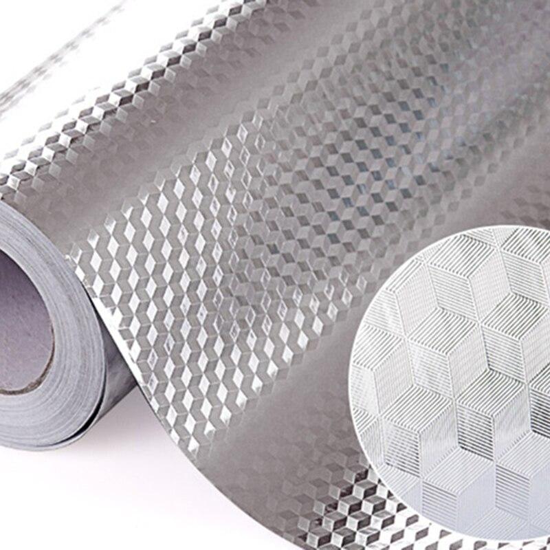 Алюминиевая фольга для кухни, стикер s, украшение дома, самоклеющиеся водонепроницаемые обои для мебели
