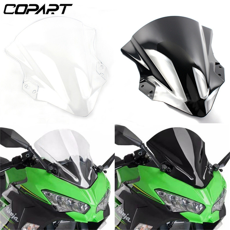 For Kawasaki Ninja400 <font><b>Ninja</b></font> <font><b>400</b></font> 2018-2019 Deflector Screen With Bracket Motorcycle Windshield Double Bubble <font><b>Windscreen</b></font> image