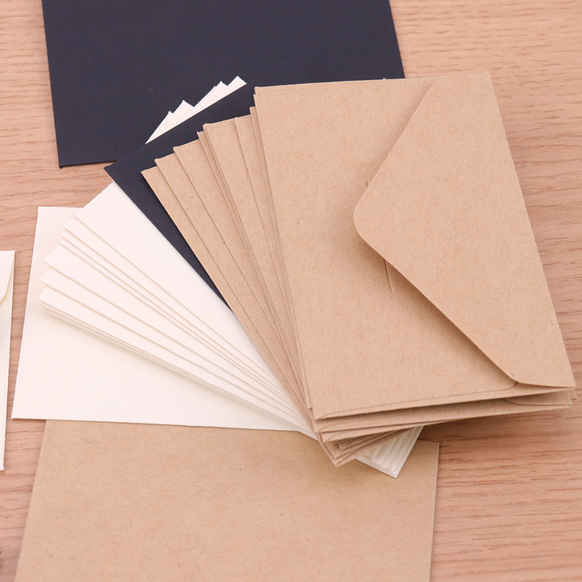 Classical White Black Kraft Blank Mini Paper Window Envelopes Wedding Invitation Envelope Gift Envelope 20PCS