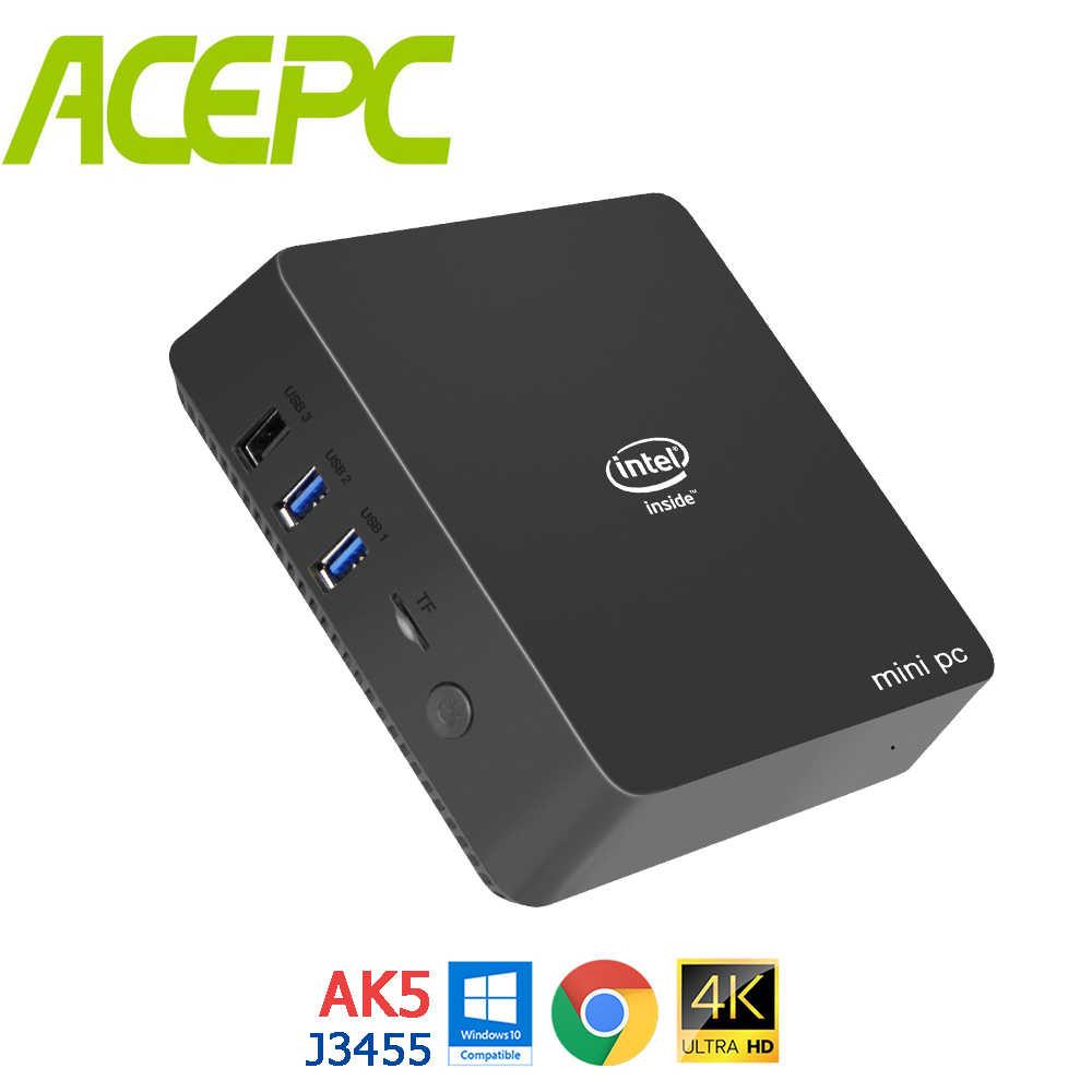 AK5 ミニ Pc の Windows 10 アポロ湖 Celeron DC QC J3455 N3450 4 ギガバイト 64 ギガバイト 2.4 グラム/5 グラムデュアル無線 Lan 4 18K LINUX ミニコンピュータ 64G-mSATA