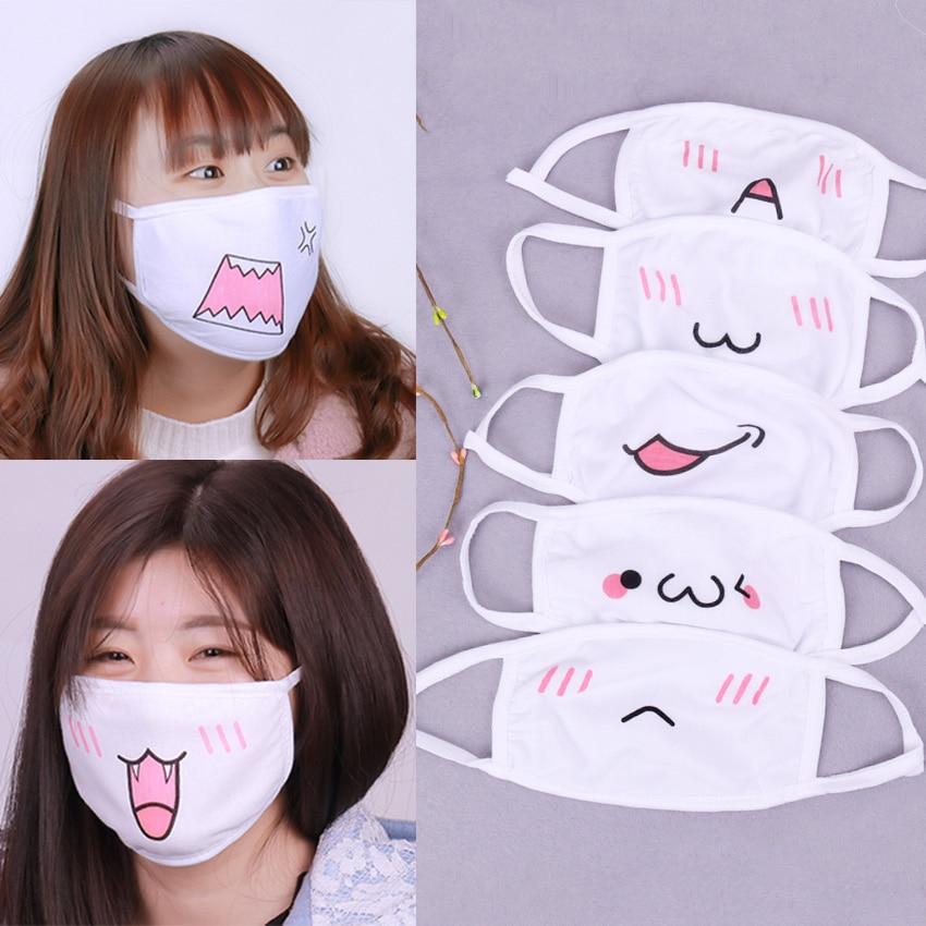 1PC Kawaii Anti Dust Mask Cotton Mouth Mask Cute Anime Cartoon Mouth Muffle Face Mask Emoticon Masque Masks