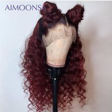 Burgundy Wig 99j Lace Front Loose Wave Wig Full Lace Human Hair Wigs Colored Human Hair With Baby Hair Peruvian Remy Aimoonsa(China)