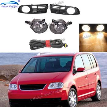 For VW Touran 2002 2003 2004 2005 2006 Car-styling Front Bumper Fog Lamp Fog Light Wire Harness Fog Lamp Grille Cover image