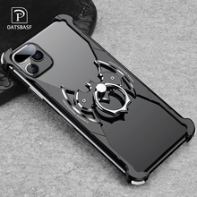 OATSBASF Bat Shape Metal Airbag Case for iPhone 11 pro max with ring holder Anti-fall Bumper Cover