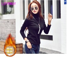 We have set up our own factory can't make good quality frame qiu dong with velvet turtle neck long sleeve T-shirt female render