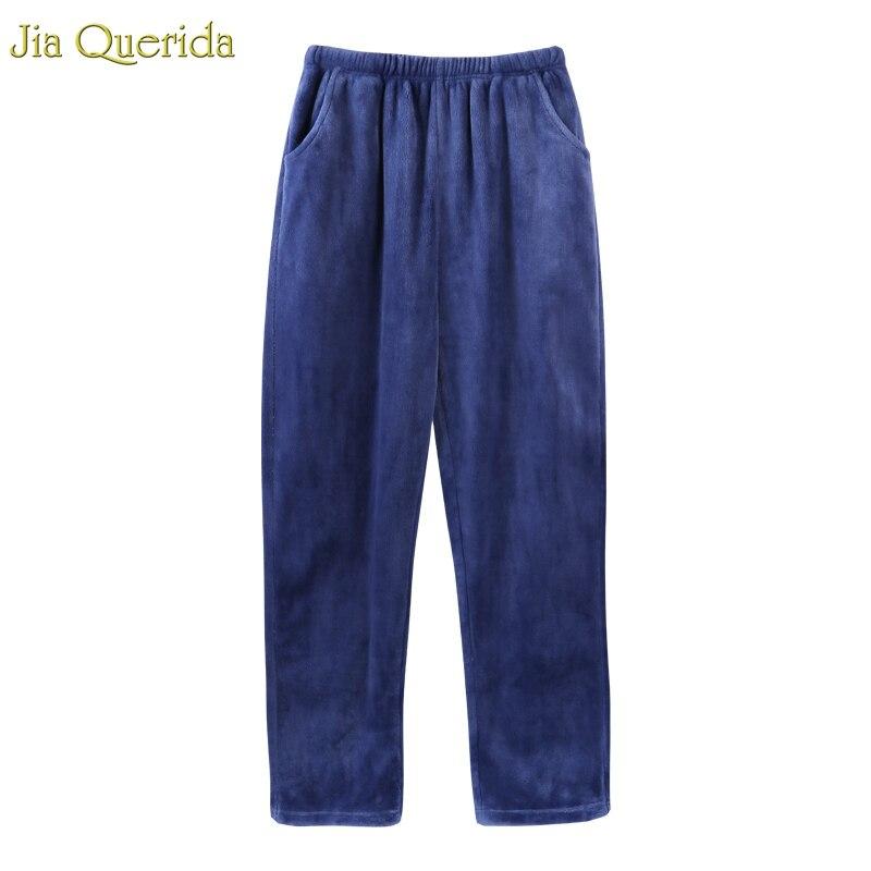 Lounge Pants Mens Flannles Sleep Pants Winter Warm Pajama Pants Elastic Waist Two Pockets Blue Minimalist Style Sleep Bottom Man