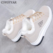 COVOYYAR 2019 Winter Women Shoes Warm Fur Plush Lady Casual Shoes Lace Up Fashion Sneakers Platform Snow Boots Big Size WSN324(China)