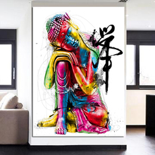 HD Print Paintings Abstract Colorful Zen Sleeping Buddha Canvas Art Painting Prints Oil for Living Room