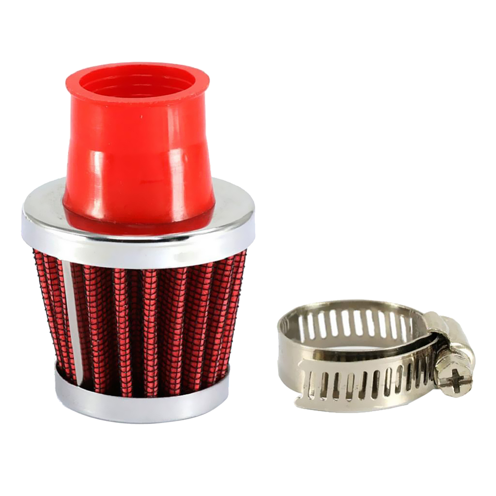 Red 25mm Car Truck Turbo Cold Air Filter Round Cone High Flow
