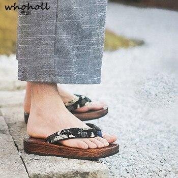 Talla 47 48 zuecos japoneses hombre Chanclas de madera Geta Cosplay disfraces Cos Naruto una pieza sandalias de plataforma Zapatillas para hombre