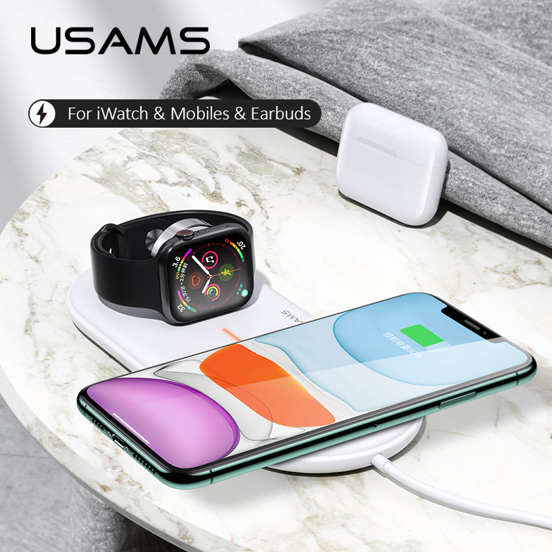 USAMS 3 in 1 Qi Wireless Charger for Apple Watch 5 4 3 2 1 Wireless charging Pad 10W Fast Charger for Apple watch charger dock