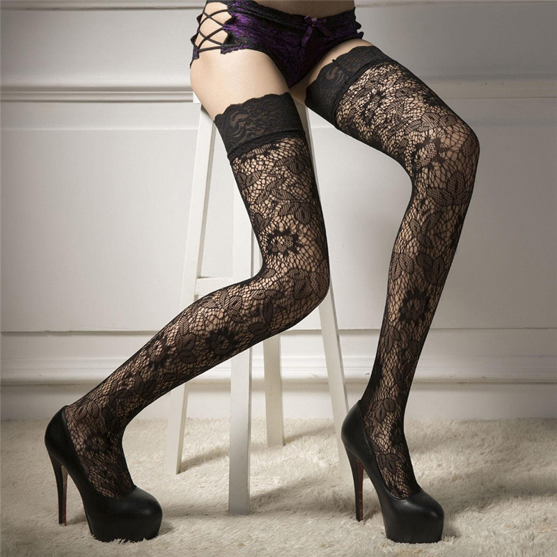 Female Girl Over Knee Socks Sexy Fishnet Lace Nylon Top Mesh Thigh High Stockings Long Tights Medias Pantyhose Woman