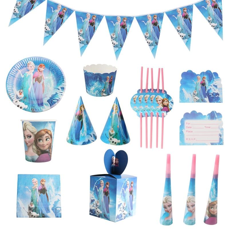 Disney Frozen Princess Anna Elsa Cartoon Birthday Party Decorations Children Disposable Tableware Birthday Party Decorations