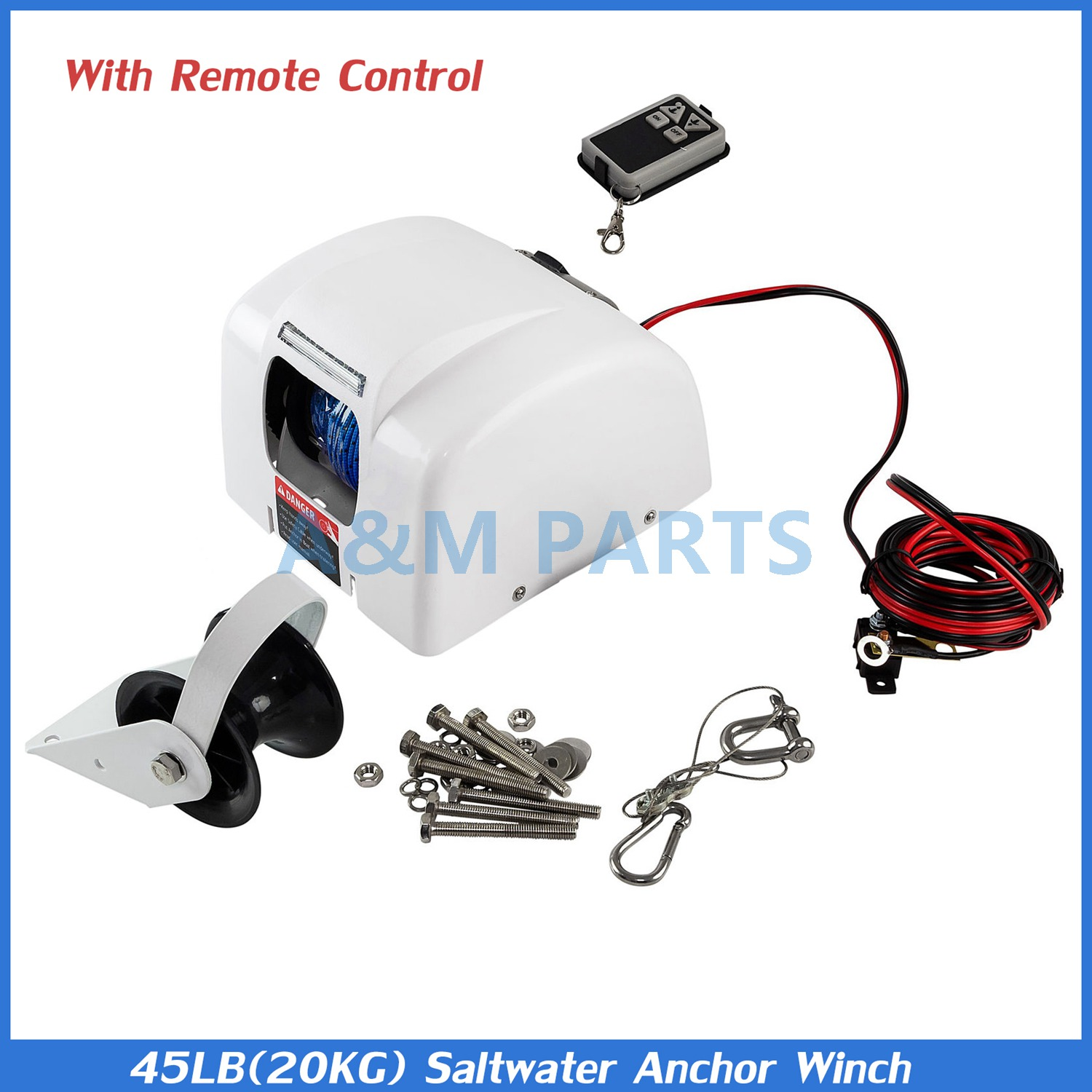 Big Water 45 Electric Anchor Winch Saltwater Boat Winch Wireless Remote Control