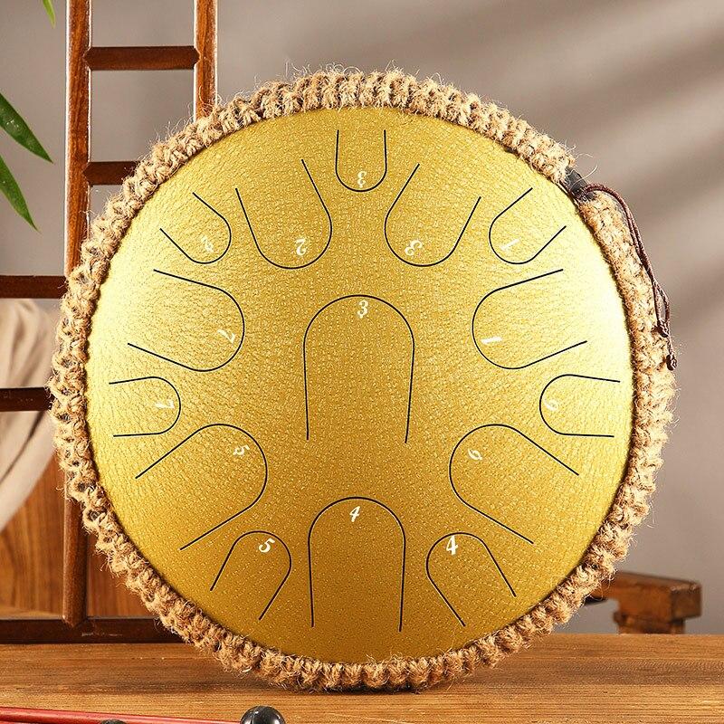 Tambor tambor tambor portátil de 13 polegadas, tambor solar de aço novo com 15 tons, instrumento de percussão para meditação de yoga, iniciante de música, presente para amantes