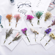 1 Set Real Dried Flowers Greeting Card DIY Retro Paper Hand -Dried Flowers Greeting Cards Creative Flowers Cute Envelopes