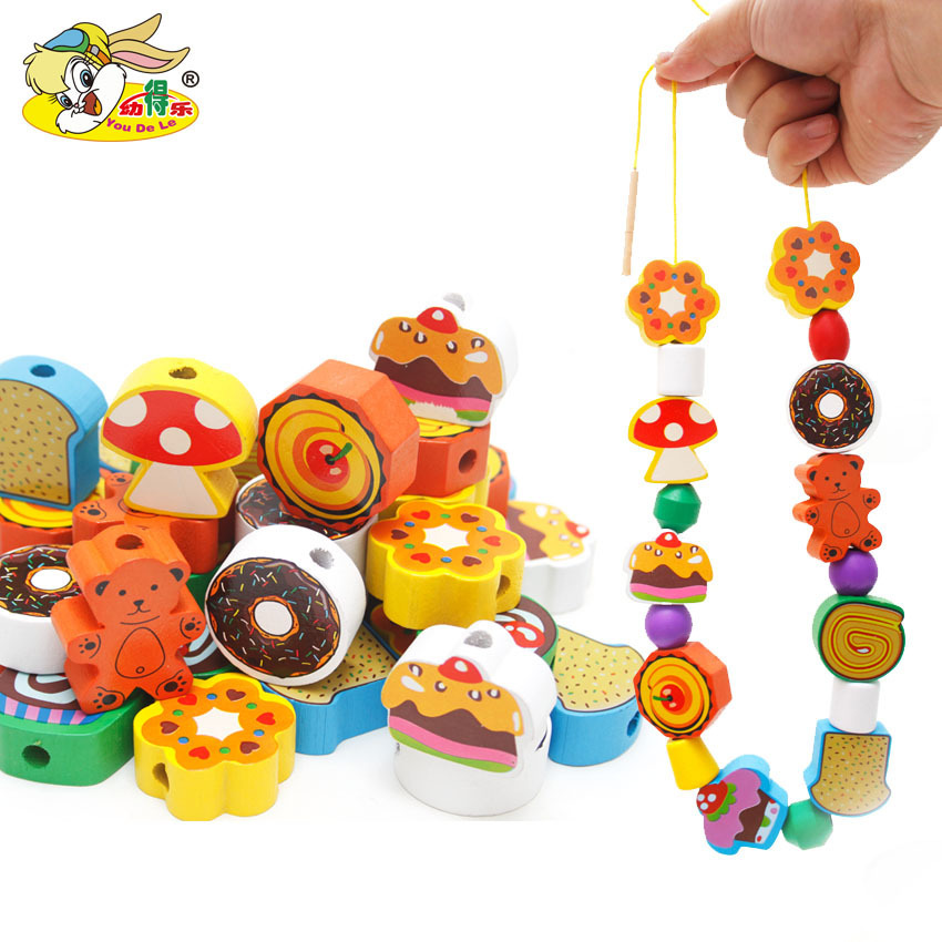 Youdele 70 Grain Wooden Large Pieces Cake Fruit Building Blocks Wear Beaded Bracelet Children Early Childhood Cognitive Learning