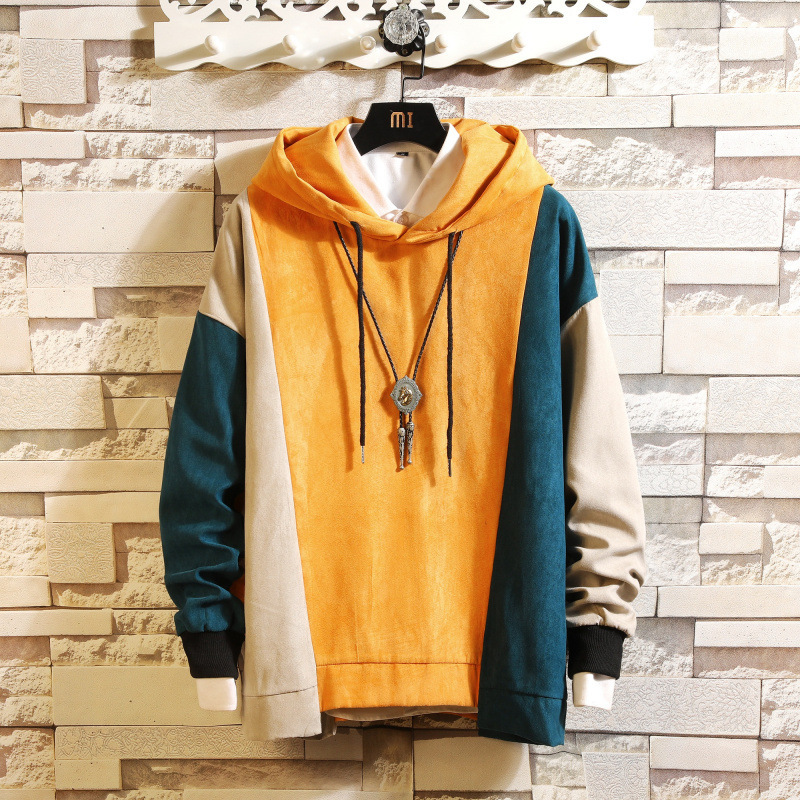 Split Joint Hit Color Men Enlarge Size Hooded Male Loose Autumn Even Tide Brand Student Thin Loose Hoody Clothing