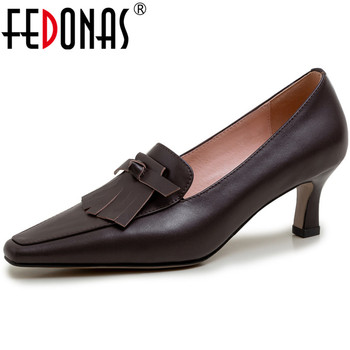 FEDONAS New Women Cow Genuine Leather Pumps Fine Heels Pumps Fashion Tassel Shoes New Arrival Spring Party Prom Shoes Woman
