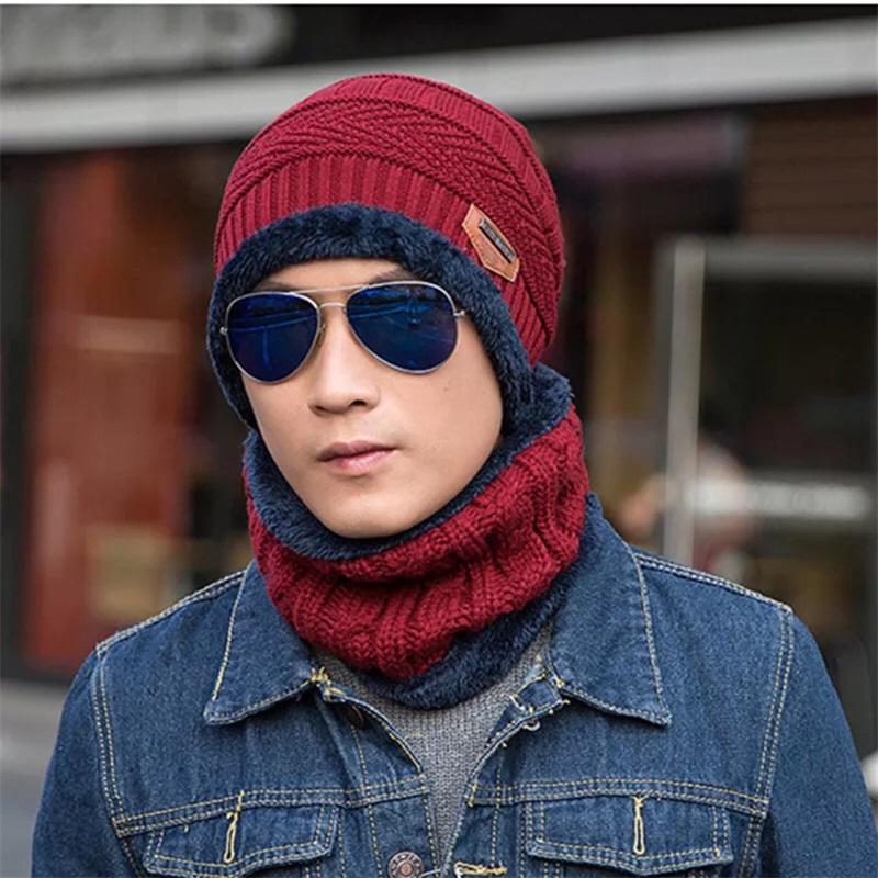Winter Hat Scarf Set Men Women Unisex 6 Colors Knitting Hat Scarf Set Warm Wool Fleece Cap Scarves Beanies