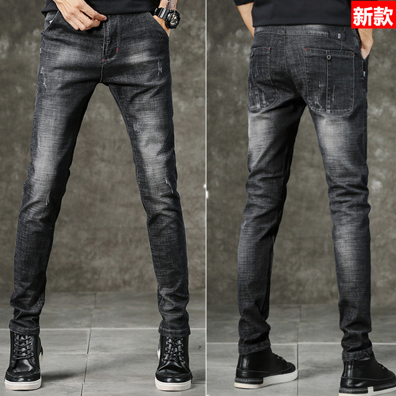 2019 Autumn And Winter Casual Cowboy New Style Cotton Elastic Straight Slim Jeans Skinny Straight-Cut MEN'S Trousers