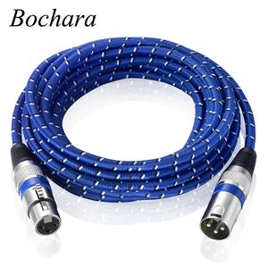 Image 1 - Bochara Nylon Braided XLR Cable Male to Female M/F 3Pin jack Extension Cable For Microphone Mixer 1m 1.8m 3m 5m 10m 15m 20m