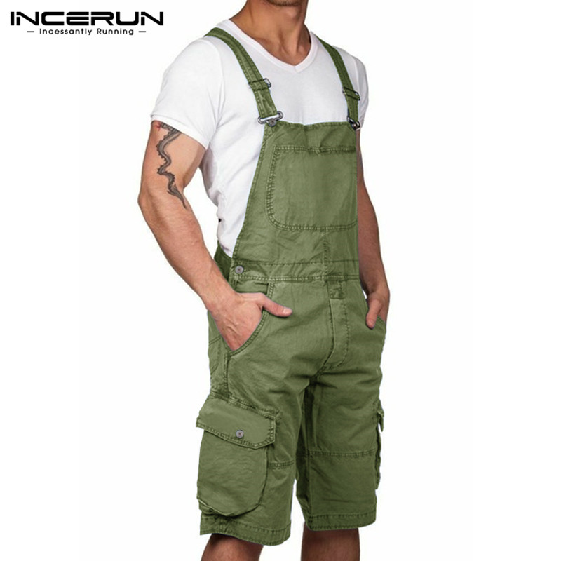 Fashion Men Cargo Overalls Solid Joggers Streetwear Casual Trousers 2020 Pockets Suspenders Rompers Cotton Men Jumpsuits INCERUN