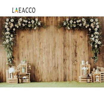 Laeacco Photo Background Old Wooden Wall Wedding Stage Party Flowers Wreath Candle Child Portrait Photo Backgrounds Photo Studio new arrival background fundo many flowers bloom backgrounds 5x7ft s 991