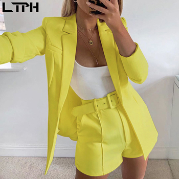 hot sale new 2019 ins explosion Women's clothing autumn long sleeve cardigan jacket shorts solid color two-piece Lady suit real 1