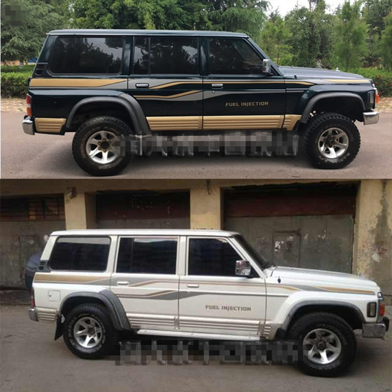 SUV Sticker For Nissan Patrol Y60 Body Exterior Decoration Modified Sticker Pull Flower Color Bar Film
