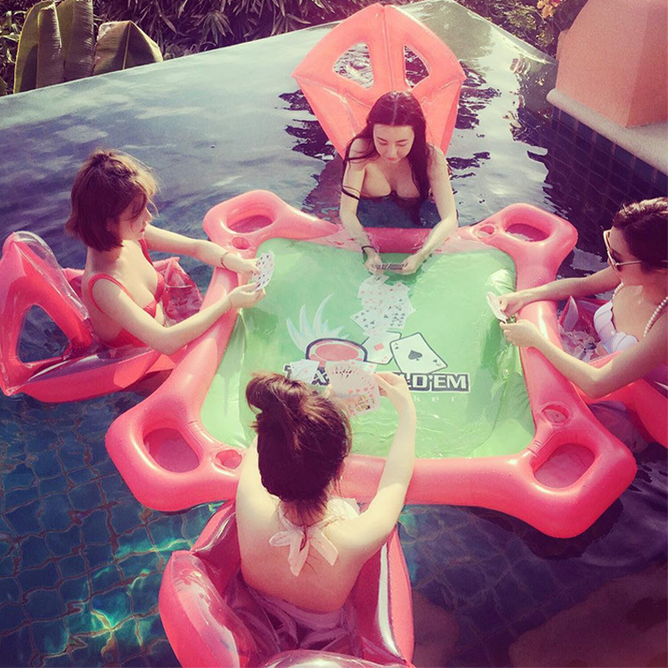 4 Person Inflatable Seat Mahjong Table Floating Pool On Water Fun Inflatable Floating Poker Table With Drinks Holders