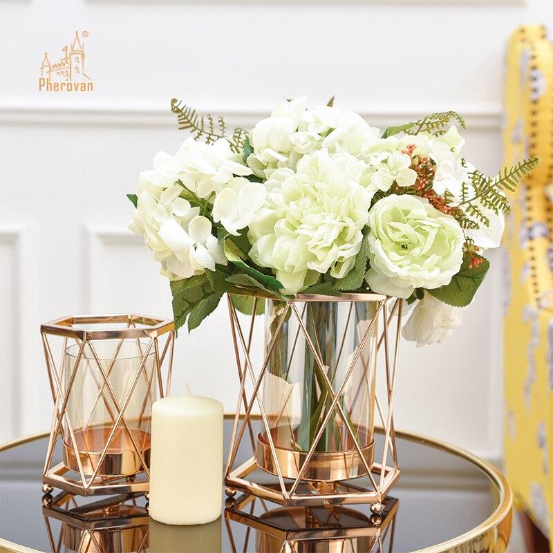 Style nordique en fer forgé géométrique bougeoirs maison décorer métal artisanat chandelier chandelier De Velas support Mesa 50Z57