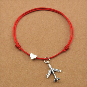 New Casual Heart Love Plane Charm Airplane Pendant Red Cord Lucky Bracelets for Women Men Aircraft Model Travel Jewelry Gifts(China)