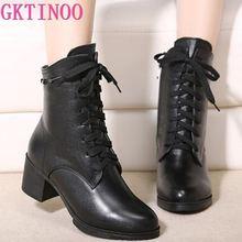 New 2020 Autumn Fashion Women Genuine Leather Boots Handmade Vintage Ankle Botines Shoes Woman Winter botas