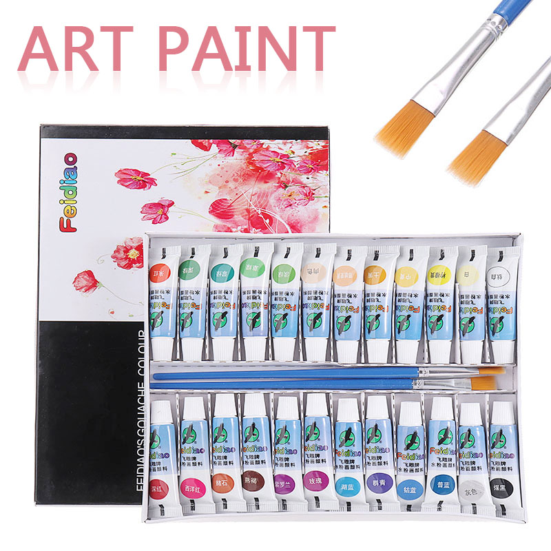 24 Colors Paint Tube Gouache Drawing Painting Tool Pigment Set With 2 Brushes For Artist Student Painting Set Art Supplies