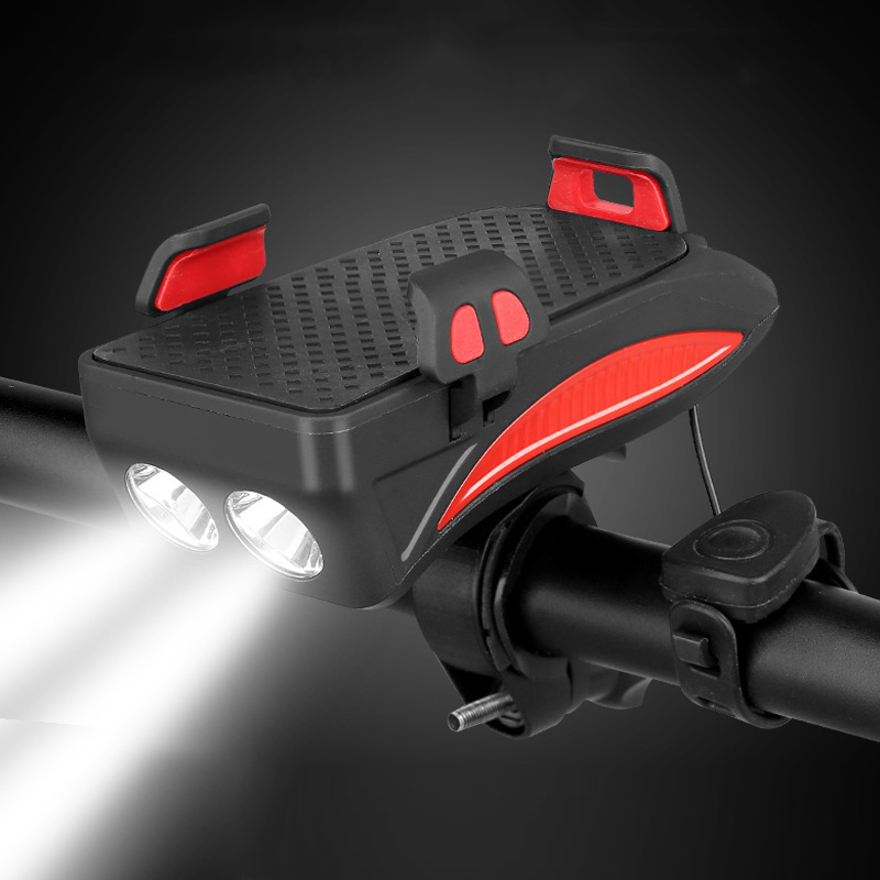 Bike Light and Horn Phone Holder All in One Multi Function Bicycle Lights Lamp Front Light LED Bell GPS Clip Handlebar Mount B81