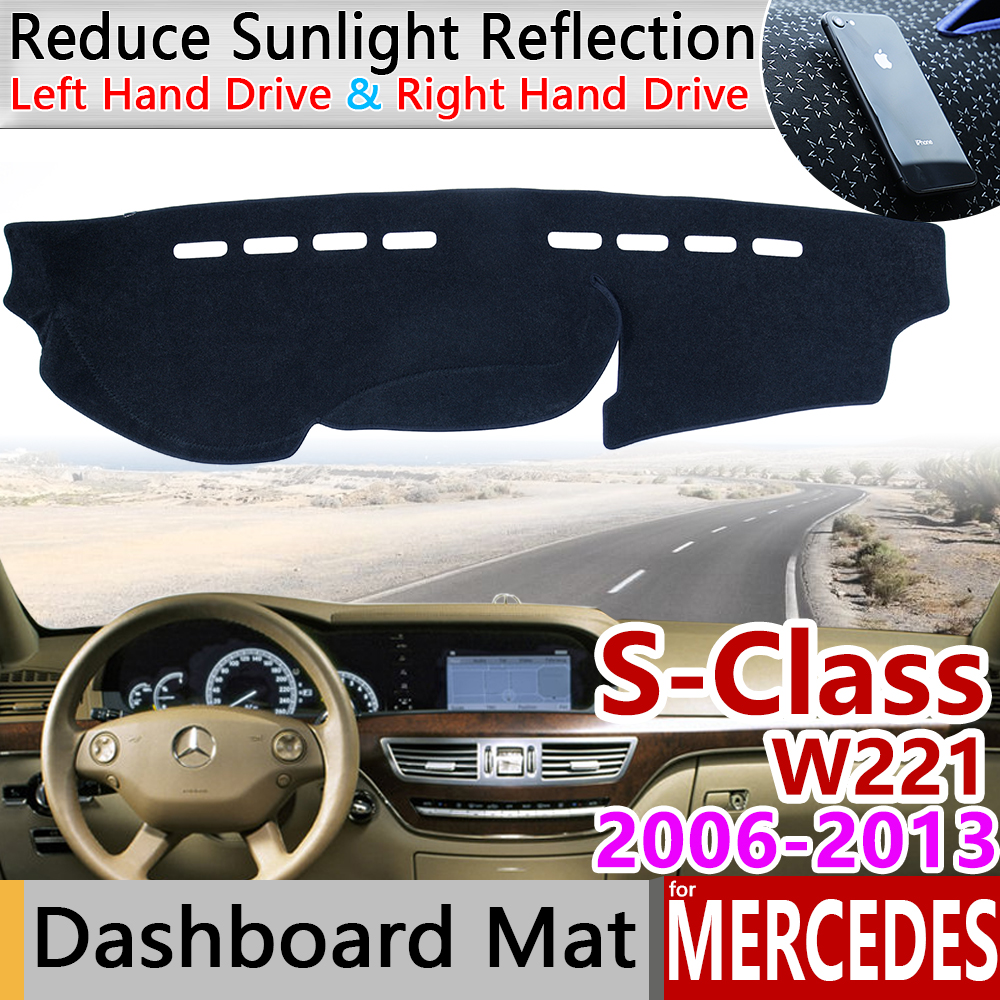 For Mercedes Benz S-Class W221 Anti-Slip Mat Dashboard Pad Sunshade Dashmat Carpet Accessories S-Klasse S300 S320 S400 S500 S600